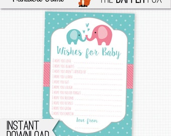 Wishes for Baby Cards Pink and Teal Elephant Baby Shower games - printable - Baby Girl Polka Dot Baby Shower Cute Elephant