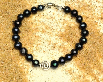 Blue Black Pearl Bracelet with Artisan Spiral