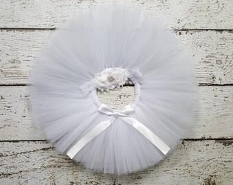 White Tutu - Baby Tutu Set - Flower Girl Tutu - Tutu & Headband Set - Cake Smash Outfit - Baptism -Newborn Tutu - Infant Tutu - Toddler Tutu
