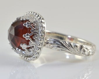 Garnet Ring in Sterling Silver, Faceted Hessonite Garnet Cushion Gemstone, January Birthstone, Solitaire Statement Cocktail Ring