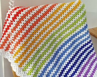 Crochet Pattern Easy Rainbow Blanket INSTANT DOWNLOAD PDF, uk and us versions No24, simple, photo tutorial