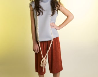 Copper Rust Silk Wide Leg Gathered jersey Knit Shorts