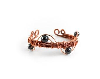 Woven Copper Cuff - Wire Wrapped Funky Swarovski Pearls - Bohemian Hippie Bracelet - Antique Vintage - Boho Boho Gypsy Wanderlust