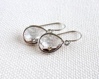 Clear Teardrop Earrings, Crystal Bezel Silver Rhodium, Minimalist Modern Earrings, Bridal, Simple Elegant
