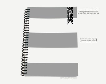 Personalized Spiral Notebook / Striped Notebook / Custom Monogram Notebook