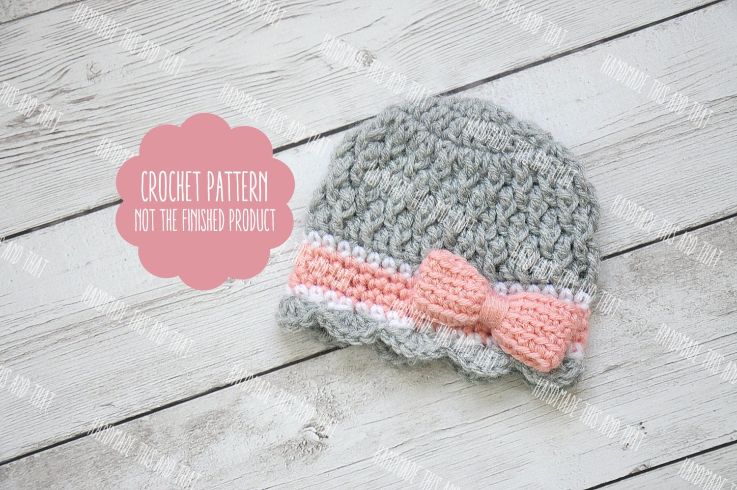 Crochet Pattern Newborn Girl Hat : CROCHET PATTERN Newborn girl hat pattern crochet baby girl