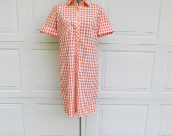 1960s orange gingham picnic shirt dress, S