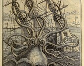 Kraken Octopus Print, Giant Octopus Attacking Ship, Men's Wall Art, Nautical Poster, Beach Art, Man Cave, Nautical Wall Decor, Coastal Art