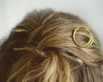 P I N O - Hammered Brass Hairpin