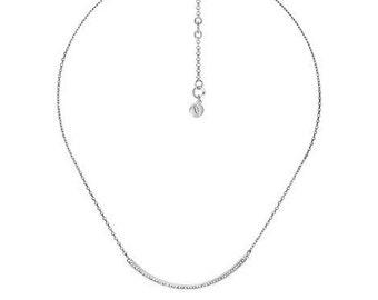 Silver Pavé Curved Bar Necklace