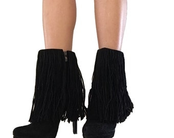 Black Fringe Boots/ Suede Leather Boots/ Booties/ High Heel Boots/ Fringe Booties/ Fringe Boots/ Short Boots/ Black Suede Boots/ Ankle Boots