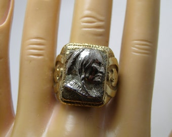Vintage 1960's Biker Ring With Indian Chief Head Warrior and Arrowhead Sides HEAVY