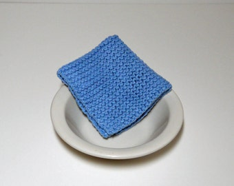 Large Light Blue Hand Knit Dishcloth/ Washcloth, 100 % Cotton, 9 inch square, Mix and Match for Custom Set, Housewarming Gift, Shower Gift