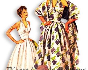 Simplicity 4711 Vintage 1950s Marilyn Monroe Style BOMBSHELL Halter Dress and Stole Sewing Pattern Sz 12