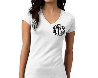 Monogrammed V-neck Vintage Wash Short Sleeve T-Shirt, Personalized V-Neck Shirt Tee, Short Sleeve shirt