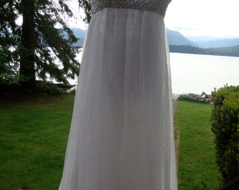Floaty, Formal White Gown Handmade in the Sixties