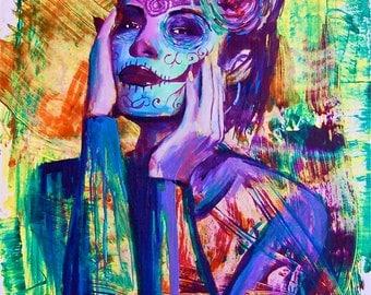 Como Una Flor Day of the Dead Sugar Skull Dia De Los Muerto Giclee Canvas  Mexican Print Wall Art Colorful Abstract Pop Art