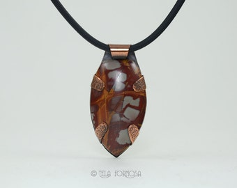 Hammered Copper Noreena Jasper Pendant, Natural Stone Pendant, Cabochon Pendant Tab Set Pendant Handmade Copper Metal Worked Pendant Forged