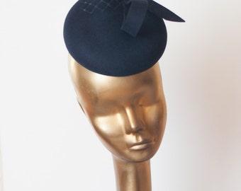 Unique Modern Navy Blue Felt FASCINATOR. Pillbox Hat for Women