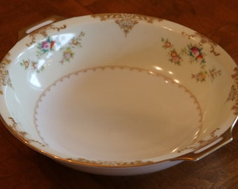"Meito Hand-Painted Vintage China ""Aristocrat"" Pattern V2069 Round Handled Serving Bowl"