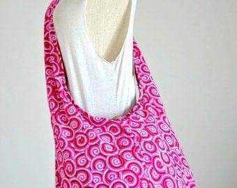 Pink Spiral Hippie Cotton Bag Crossbody Bag Shoulder Bag Boho Bag Hobo Bag Messenger Bag Purse