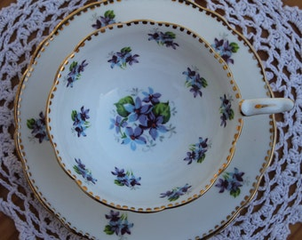 "ROYAL STAFFORD Bone China Teacup and Saucer Set ""Sweet Violets"""