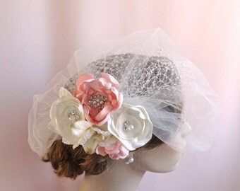 Bridal birdcage veil with flowers, bridal headpiece, wedding hair accessories, bridal veil with pearls, ivory pink  Style 811