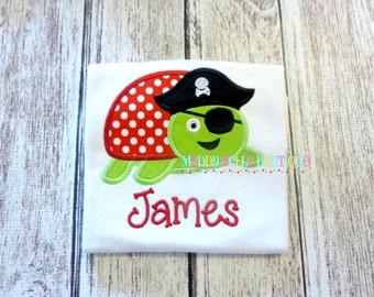 Pirate Sea Turtle Appliqued Shirt - Embroidered, Personalized, Monogram, Sea Turtle, Pirate, Summer, Beach, Pirate Sea Turtle Shirt, Boys