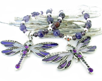 Dragonfly Curtain Tiebacks, Dragonfly Tiebacks, Purple Curtain Ties, Beaded Tiebacks, Shabby Chic Tiebacks, Girl's Room Decor, Curtain Ties