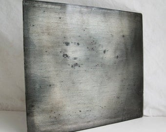 Silvered Glass Tile, Hand Silvered Glass Art, Interior Design Piece, Ribbed Silver Glass Tile