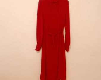 Red Chiffon Midi Shirt Dress - 1980s