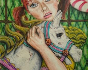 Circus Art - Carousel horse - Colored pencil art - Original artwork - Whimsical - Fantasy art - Wall decor - Carnival art - Rustic decor