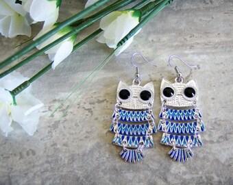 Blue owl charm earrings - owl earrings - owl jewelry - blue owls - colourful owl charms - bird owl earrings - bird jewelry