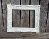 SALE: Baroque picture frame, 8 x 10, Ornate, White, Wedding, Nursery,Shabby Chic , Frame with Glass and Backing (Los Angeles)