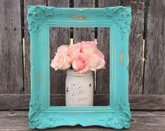 Ornate Picture  Frame,Turquoise Baroque, Vintage Wood Frame,Shabby Chic, Distressed ,Open Gallery, Wedding Frame, (Los Angeles)