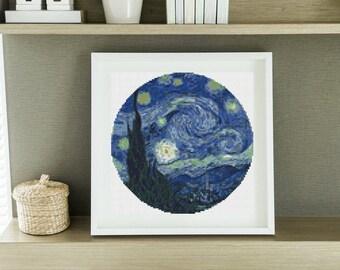 CIRCULAR Cross Stitch PATTERN The Starry Night by Vincent Van Gogh, Cross Stitch PDF
