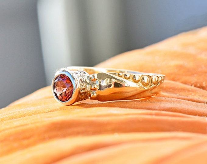 UPRISING SALE! Elegant Pink Tourmaline Solitaire Ring in 14kt Yellow/White Gold