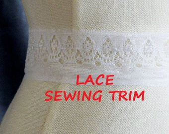7 YARDS, WHITE Lace Insertion Sewing Trim, Delicate Teardrops, Polyester, 1-1/4 Inch Wide, L18