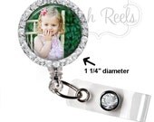 Retractable ID Badge Reel Personalized Photo Bling Rhinestone Reel Badge ID, Nurse Badge Reel, Bling Badge Reel - 0030
