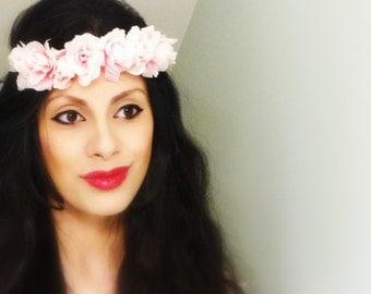 Pink Floral Crown, Flower Crown, Boho Hair Accessory