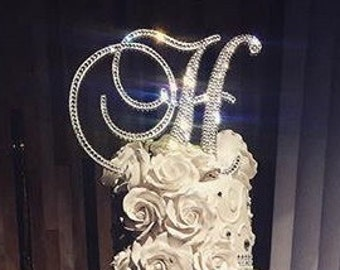 Gorgeous Swarovski Crystal Cake toppers 6'' in Any Letter