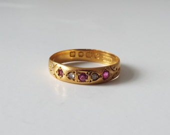 Antique Victorian 22ct gold ruby and diamond ring wedding band