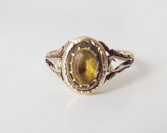 Antique Georgian citrine and yellow gold ring