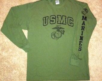 "Marine Corps ""USMC"" PT Long Sleeve T-Shirt EGA Marines"