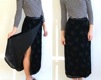90's Burned Velvet Wrap Around Long Skirt // Silk Ribbon Belt // Goth // The Gap (Size 4)