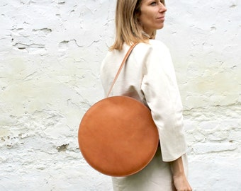 Brown leather handbag, circle bag, simple brown tote, leather shoulder bag FREE SHIPPING