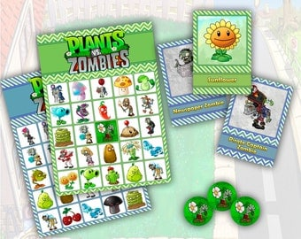 Plants vs Zombies Printable Party Bingo Game SET 1