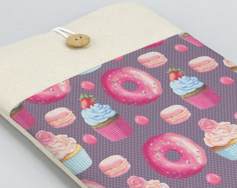 Donuts Laptop Sleeve, Laptop case, Laptop Cover, Custom, Lenovo case, Dell laptop sleeve, Carbon X1 case, front pocket, cupcake, cute sweets