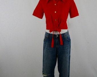 1970s Orange Cropped Shirt
