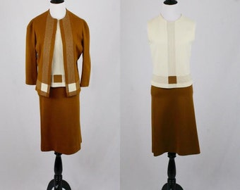 1960s Coco Chanel Inspired Suit Wool Jacket Skirt Shell Set
